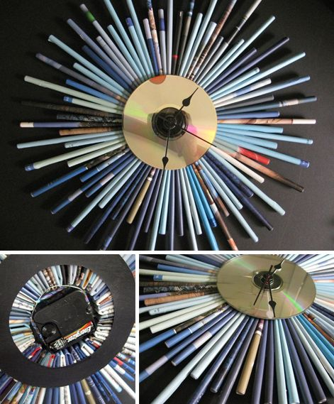 I love this clock...recycled magazine pages and an old CD.  Slick.
