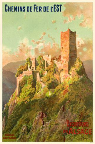 Vintage Travel Poster  - Ribeauvillé,  Château de St Ulrich (en Alsace) de Tauzin, Louis.