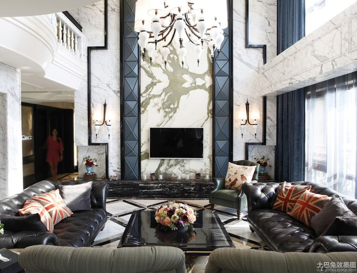 Southeast Asian Classical Style Living Room TV Background Wall Renderings |  2014 Interior Designs