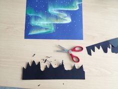 Northern lights project using paper and chalk pastel
