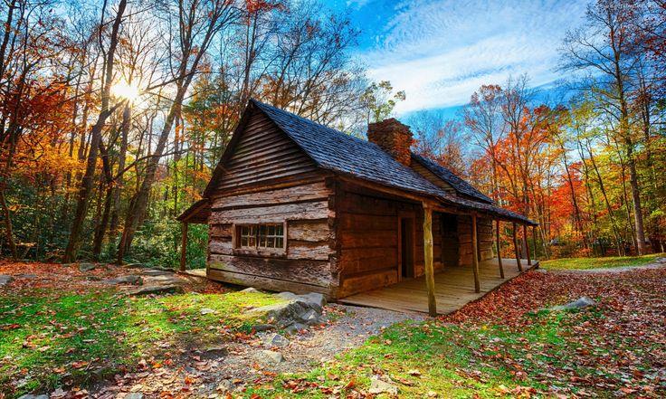 Park Narodowy Great Smoky Mountains, Drzewa, Dom, Promienie, Słońca, Liście, Jesień, Karolina Północna, USA