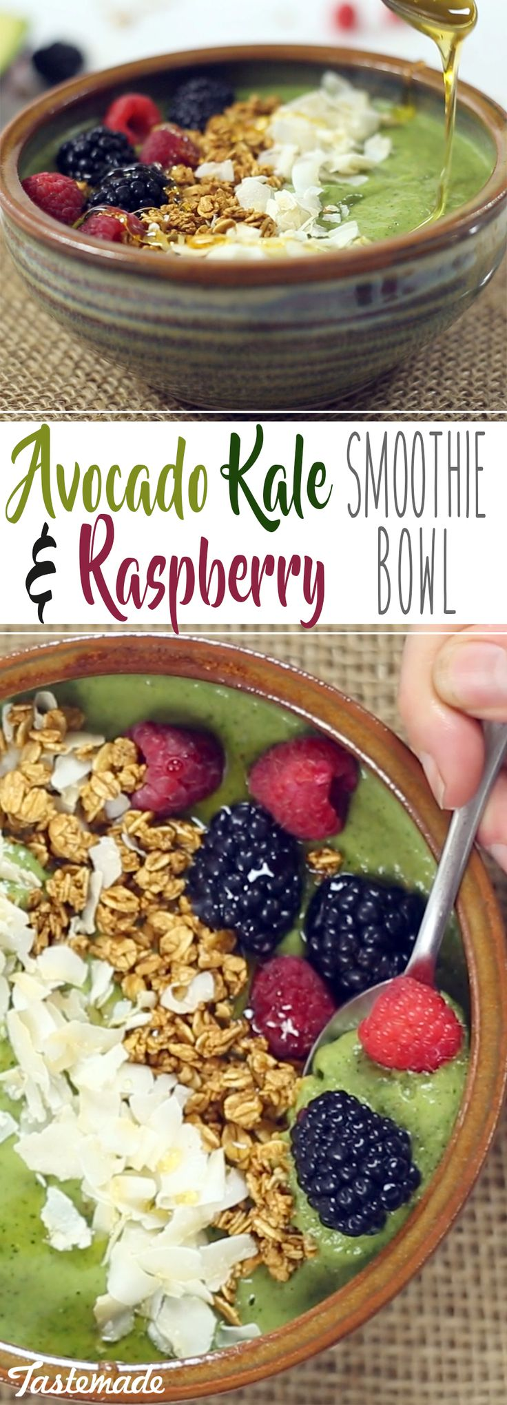 The ultimate kale and avocado smoothie bowl tastes berry delicious!