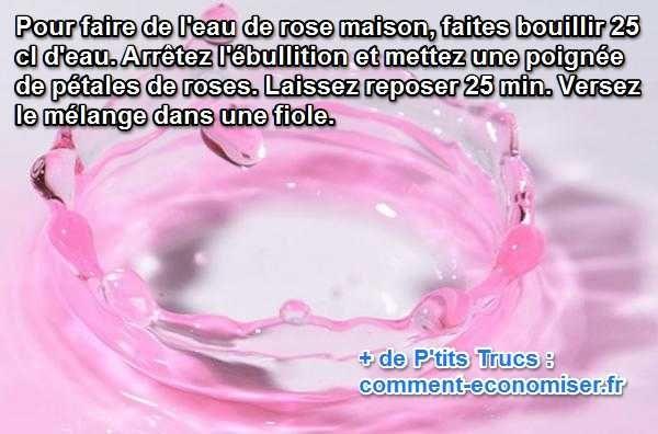 Vous voulez utiliser de l'eau de rose ? Voici une astuce pour en fabriquer rapidement chez vous autant que vous voulez.  Découvrez l'astuce ici : http://www.comment-economiser.fr/fabriquer-eau-de-rose.html?utm_content=buffer33ab1&utm_medium=social&utm_source=pinterest.com&utm_campaign=buffer