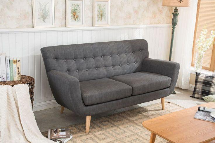 Birlea Loft 3 Seater Sofa Settee Modern Retro Style Grey Fabric Wooden Legs | eBay