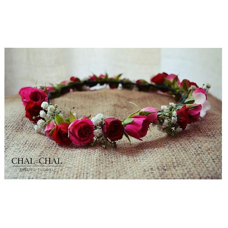 #corona de novia en tonos súper románticos!!  fucsia y rojo #chalchalflores