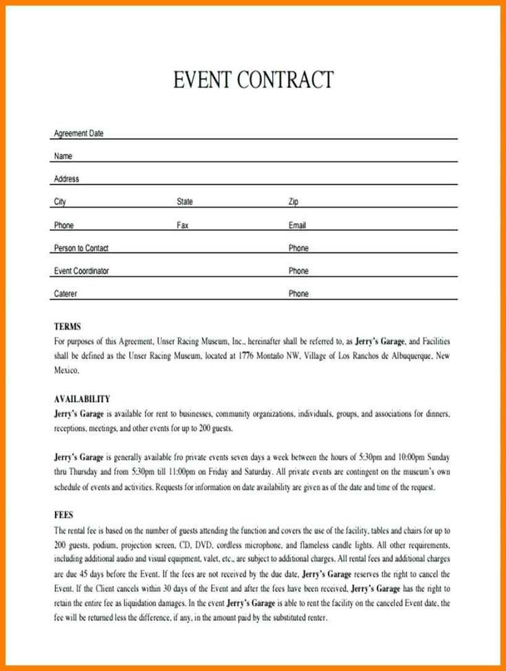 011 Plan Template Event Contract Sample With Images Event