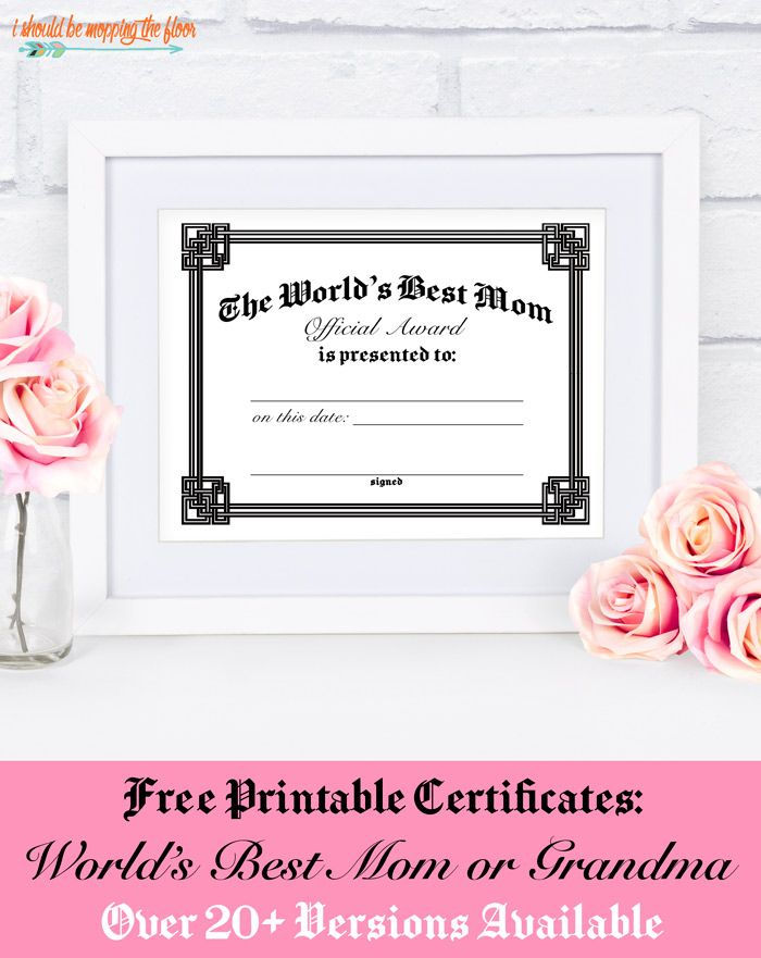 Free Mothers Day Certificate Printables Printable Certificates Mother S Day Printables Mothers Day Cards