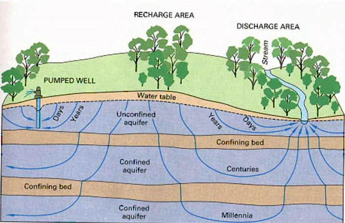 Groundwater flow - A cross sectional diagram showing qualitative flow times for various pathways through a typical aquifer system, from USGS circular 1139.