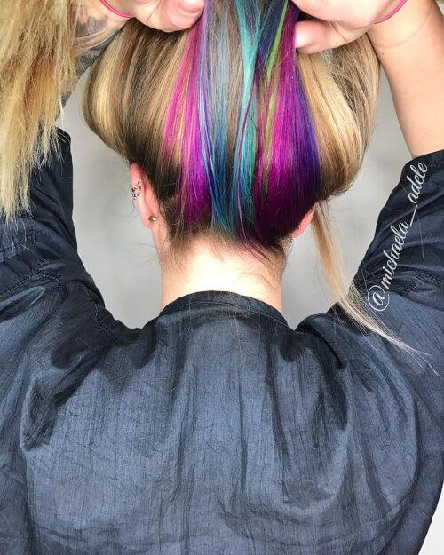 hidden unicorn rainbow hair color