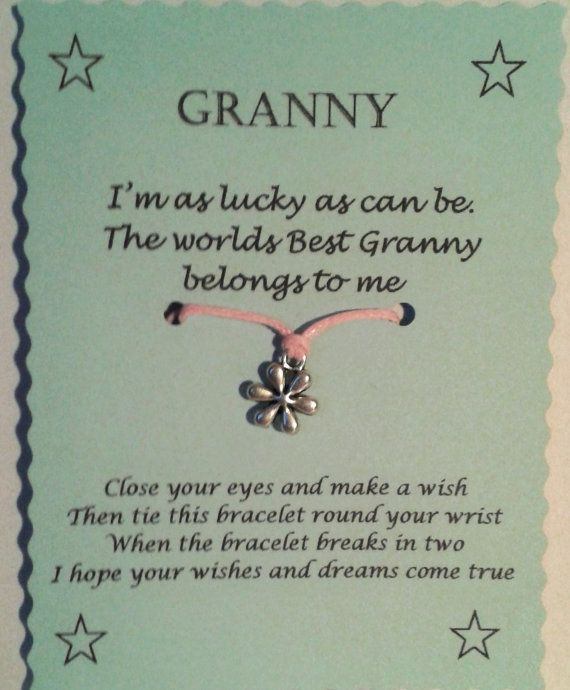 Granny Gift String Wish Bracelet Mothers Day Gift by GemsNJewells