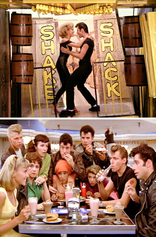 Funny, my neighbors also took me to see Grease. We saw it three times!   http://www.designsponge.com/2012/08/living-in-grease.html/grease_1