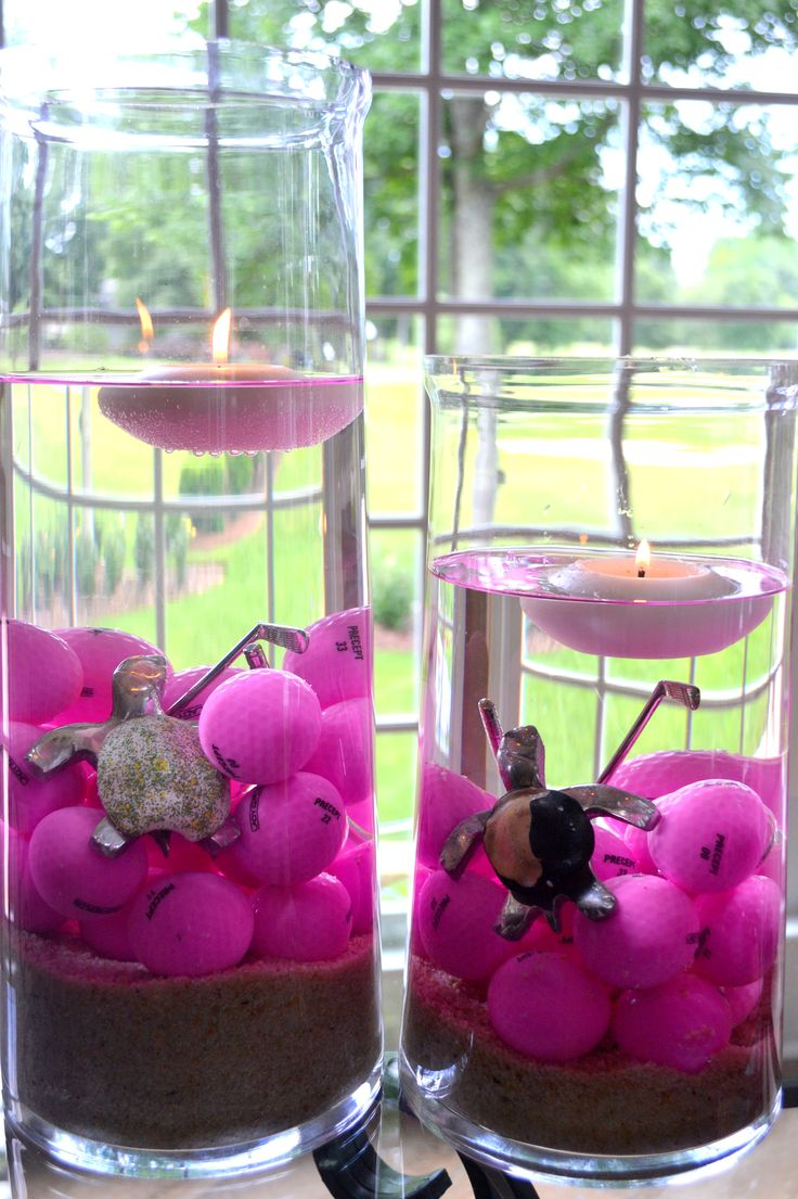 oh my goodness I'm sure i'll find a reason to do this! Golf centerpiece floating candles. It's about more than golfing,  boating,  and beaches;  it's about a lifestyle  KW  http://pamelakemper.com
