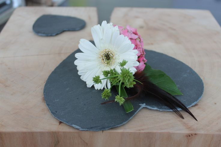 #gerbera and #feather #corsage