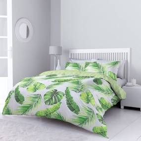 Tropical Leaves Green Duvet Cover and Pillowcase Set