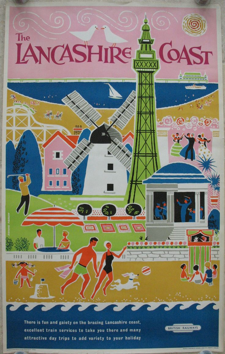Original Railway Poster The Lancashire Coast, by Daphne Padden. Available on originalrailwayposters.co.uk