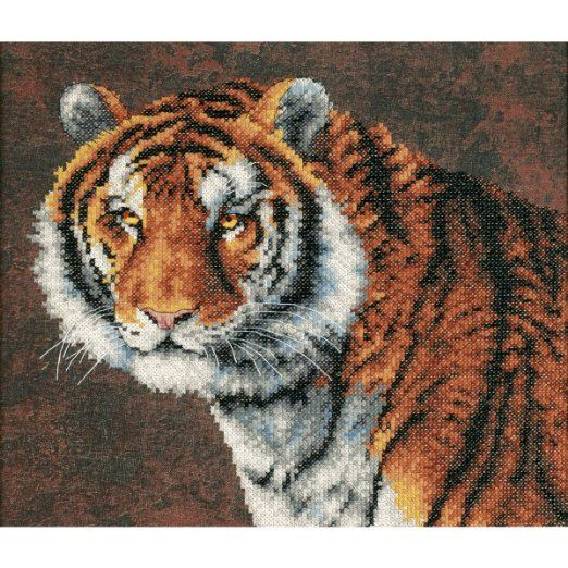 Tiger. 14 in. x 12 in. Stamped Cross Stitch Kit by Dimensions.