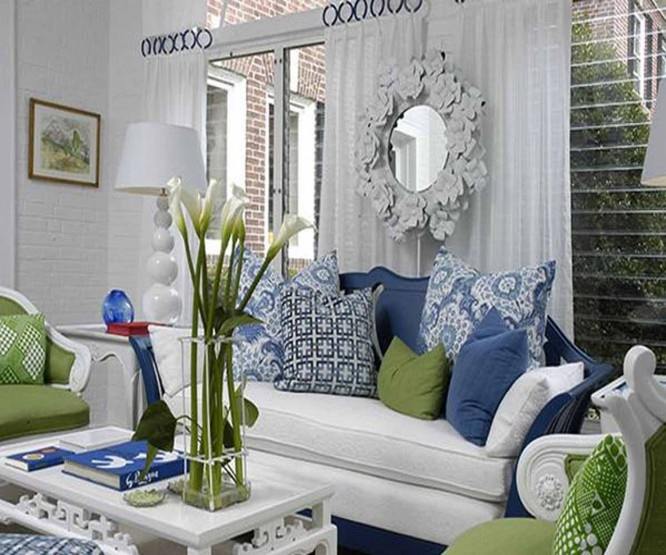 Attractive Green Blue And White Living Room