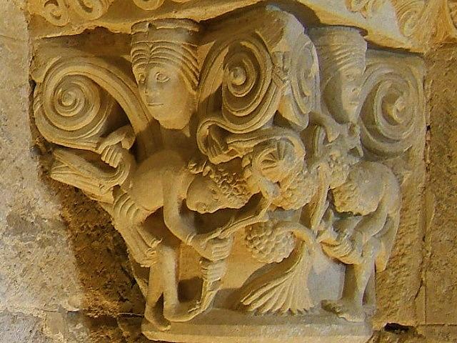 """""""Vendimiadores"""". Capitel del Monasterio de San Zoilo. Carrión de los Condes (Palencia)."""