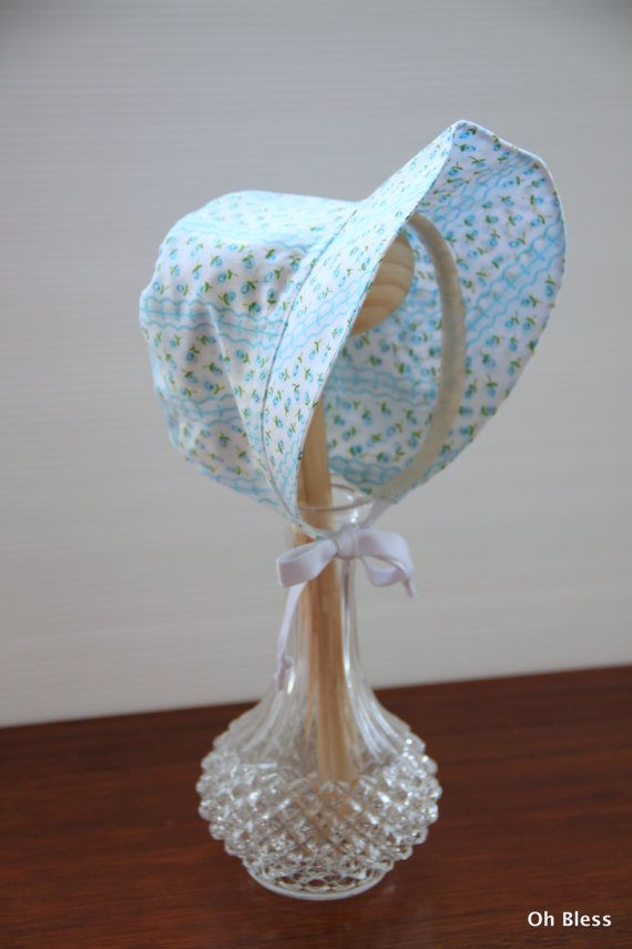 Retro vintage baby Bonnet  Blue baby hat   3 months by OhBless
