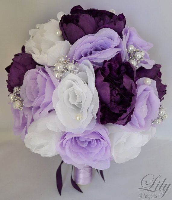 """Wedding Bridal Bouquet Silk Flowers bouquets Decoration 17 pieces Package PURPLE LAVENDER """"Lily Of Angeles"""" on Etsy, $219.99"""