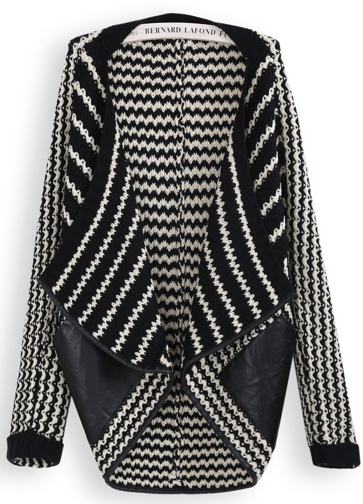 Black White Striped Contrast PU Leather Cardigan