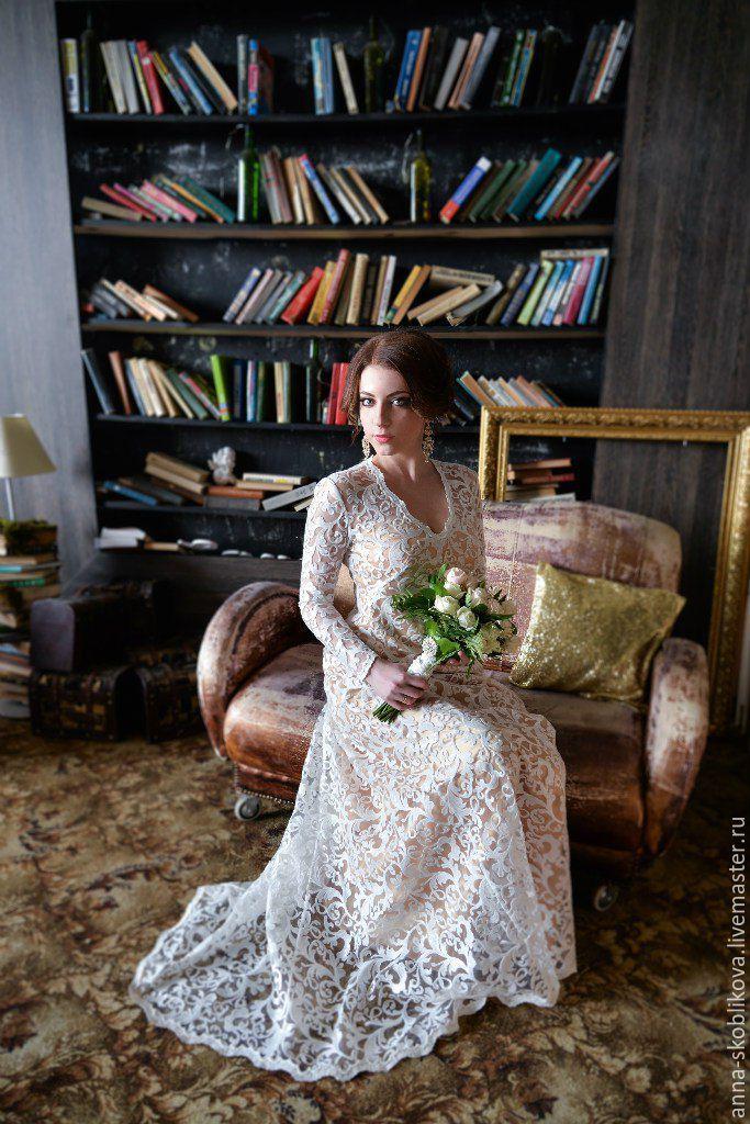 Купить Кружевное свадебное платье с рукавами - белый, кружевное платье, свадебное платье, свадебное с рукавами
