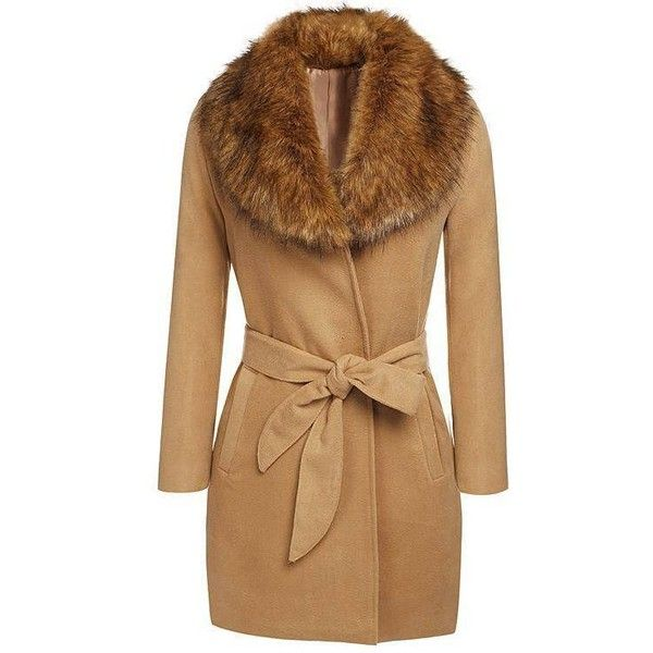 Yoins Yoins Parka Coat ($54) ❤ liked on Polyvore featuring outerwear, coats, camel, trench coats, brown parka, faux coat, fur collar trench coat, camel coat and oversized camel coat