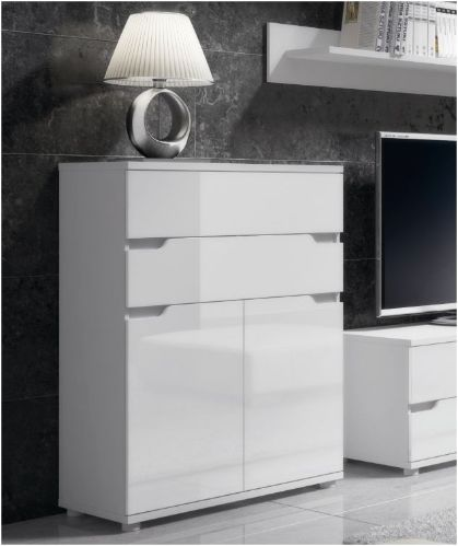 White high gloss tall narrow sideboard with 2 deep drawers and cupboards This compact tall ...