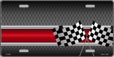 Checkered Flags Background Metal Novelty License Plate
