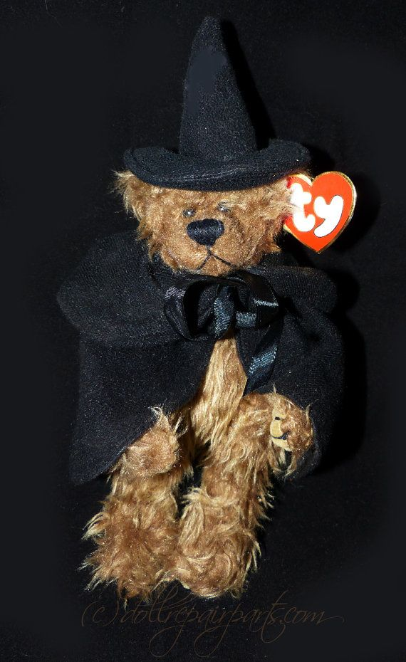 TY Bear Esmeralda That old black Magic! Jointed ty teddy bear dressed as a witch!! 9 tall.Original hang tag.  To see our complete range of vintage treasures visit our website at www.wildroseheaven.com Thanks for visiting!! Jayne   Please note items are being shipped via Canada Post. Prices shown are for ground shipping. For our USA customers you can expect delivery within 6-10 business days. Tracking and insurance is included. We will ship internationally but shipping prices vary so much…