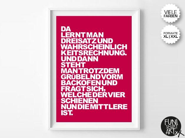 """MATHEGENIE.""   typo poster   size XL/XXL von FUNI SMART ART auf DaWanda.com"