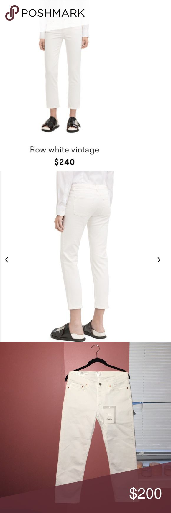 Acne Studios Row White Vintage Jeans Acne Studios Row white vintage are boyfriend fit jeans with a narrow thigh that tapers from the knee. This style is constructed of a comfort stretch natural white denim with a very heavy stonewash and slightly distressed seams. Classic 5 pocket design; Zippered fly front closure; Secures at waist band with bachelor button. Made in Italy Acne Jeans Ankle & Cropped