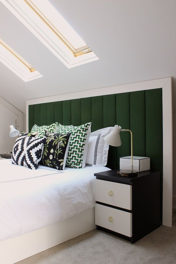 Fabric Paper Glue | I helped make sense of the low walls and pitched ceilings in our attic bedroom with an extra-wide headboard.