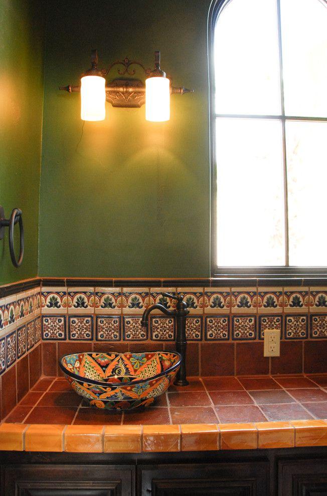 Bright Talavera Tile Mode Austin Mediterranean Kitchen Decorating Ideas With Bathroom Hacienda Kitchen Mexican Tile Rustic