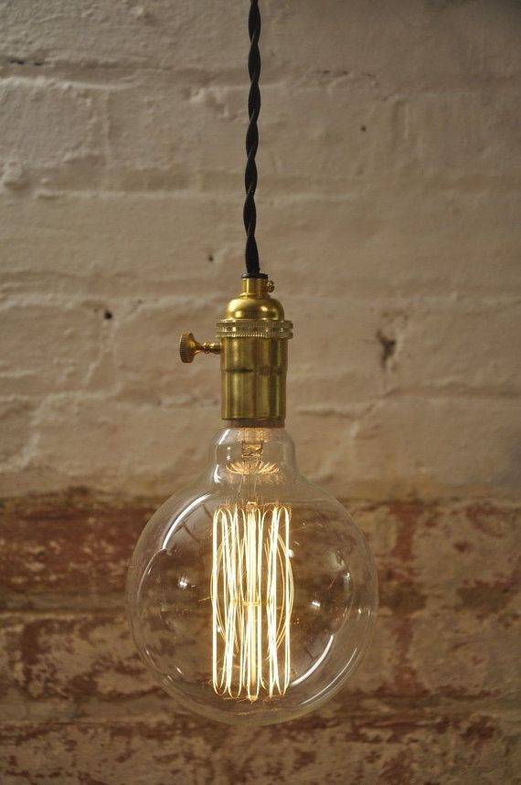 Unfinished Brass Turn Knob Pendant Light Fixture Hanging Plug in Canopy Vintage Lamp Cord ...
