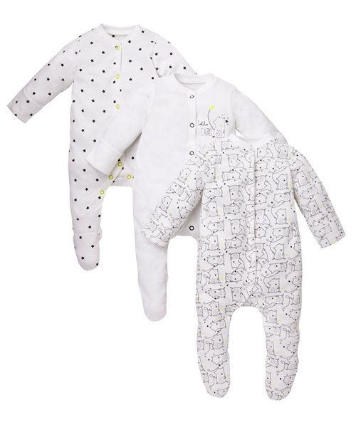 Bear Sleepsuits - 3 Pack http://www.parentideal.co.uk/mothercare---baby-clothes.html