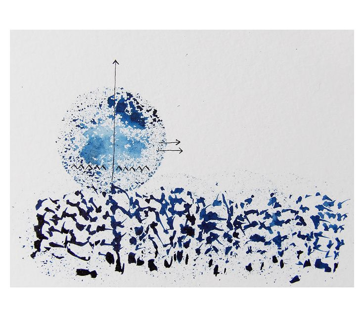 blue sunset, ink on paper  by Stephania Dapolla