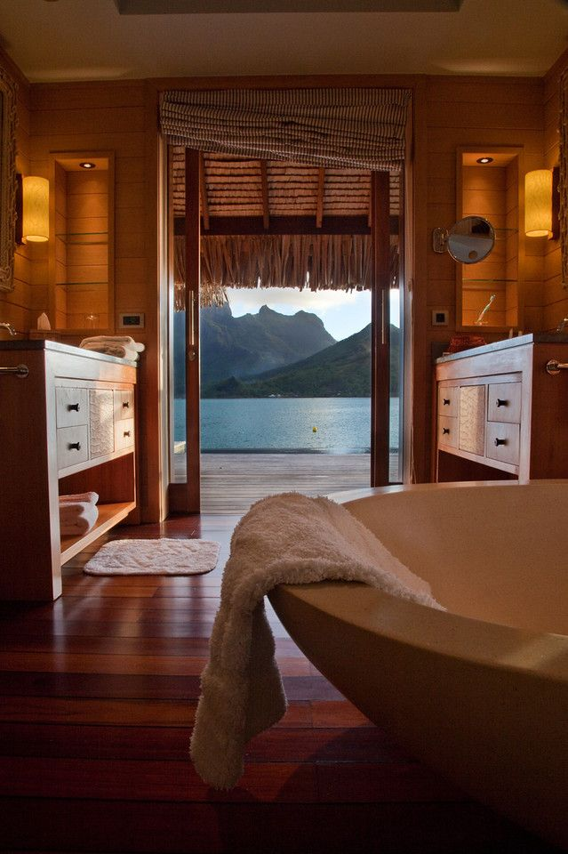 A bath with a view! This is actually a bathroom in the Four Seasons Bora Bora, but I'll take it any day!