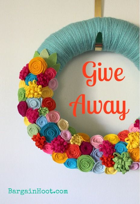 Enter to win this Felt Flower wreath at the Bargain Hoot Give away. Ends June 8th, 2012 Pin it to help win it!