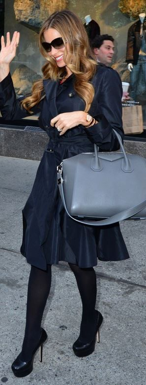 Sofía Vergara: Coat – Gucci  Purse – Givenchy  Shoes – Alice + Olivia
