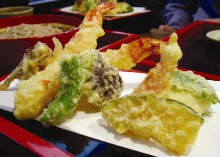 Shrimp and Vegetable Tempura with salad, miso soup and sushi for ...