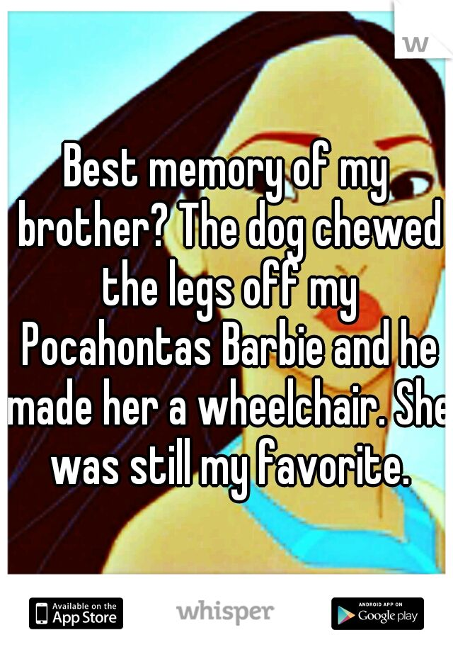 Brother made wheelchair for Pocahontas Barbie. #whisper #whisperapp
