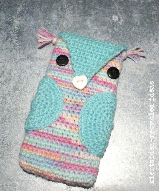 kiertoidea -  recycled ideas: Pöllöpäällinen - Owl phone case