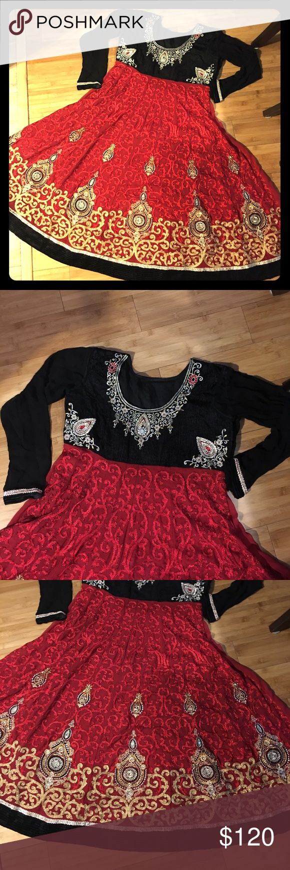 Beautiful Pakistani/Indian embroidery dress Really beautiful authentic Pakistani/Indian dress size XL. Excellent used condition. Has linings inside. Has embroidery all over and has velvet top and some details on the bottom of the dress. Pictures aren't making any justice. Way more beautiful in person. Dresses Maxi