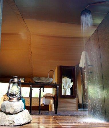 indoor outdoor shower luxury tent camping glamping queensland australia nightfall wilderness camp