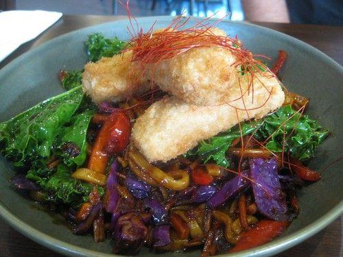 VegeRama Japanese Tensu stir-fry with snow peas, carrot, panko crumbed tofu and soba noodles AU$15: