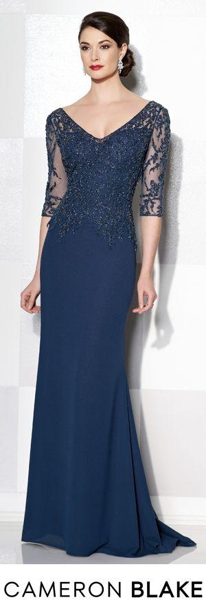 Cameron Blake Fall 2015 - Style No. 215637 cameronblake.com #eveninggowns #motherofthebridedresses #navyeveninggowns