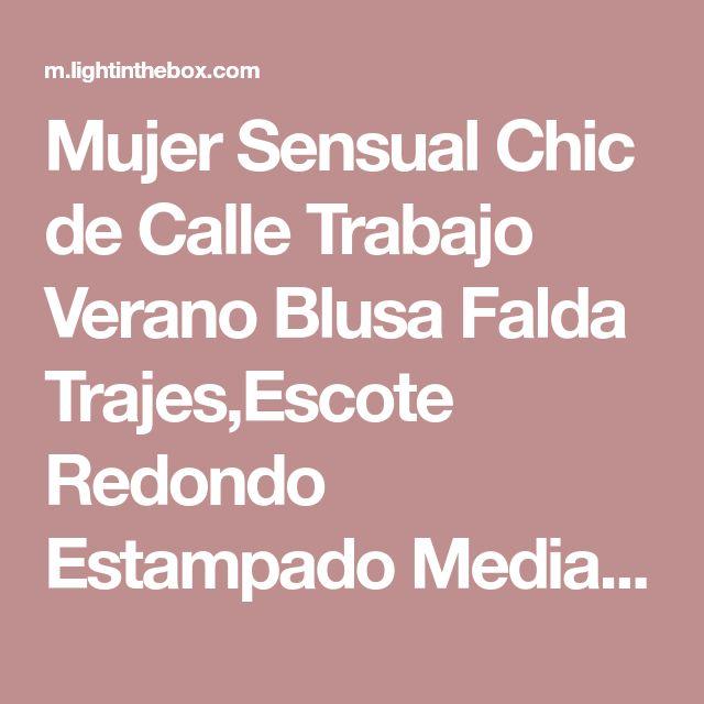 Mujer Sensual Chic de Calle Trabajo Verano Blusa Falda Trajes,Escote Redondo Estampado Media Manga Poliéster Malla Separado Gasa Retazos 2018 - $18.79
