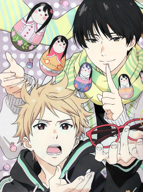Kyoukai no Kanata. Lol Akihito looks like he's worshiping those glasses.