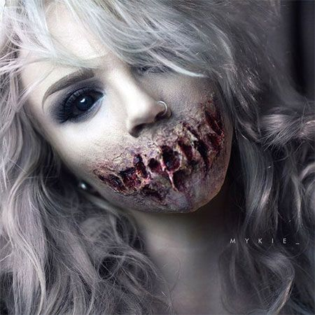 18 scary halloween mouth teeth half face makeup looks ideas 2016 - Zombie Halloween Faces